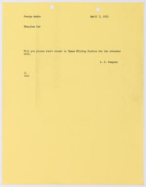 Primary view of object titled '[Letter from I. H. Kempner to George Andre, April 7, 1953]'.