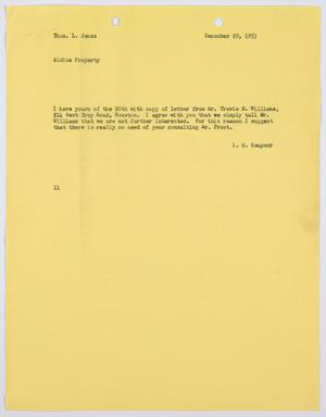 Primary view of object titled '[Letter from I. H. Kempner to Thos. L. James, December 29, 1953]'.