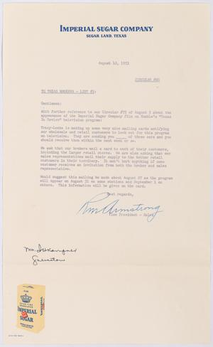 Primary view of object titled '[Letter from R. M. Armstrong to Texas Brokers, List #3, August 10, 1953]'.