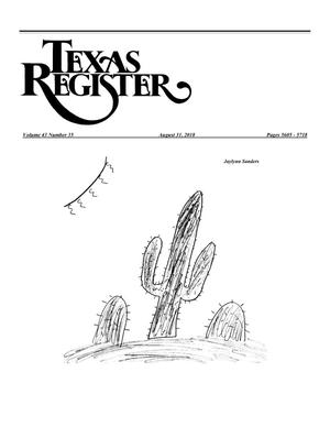 Primary view of object titled 'Texas Register, Volume 43, Number 35, Pages 5605-5718, August 31, 2018'.
