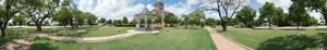 Panoramic photograph of gazebo and courthouse in Albany, Texas