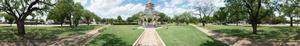 Panoramic photograph of gazebo on the courthouse square in Albany, Texas