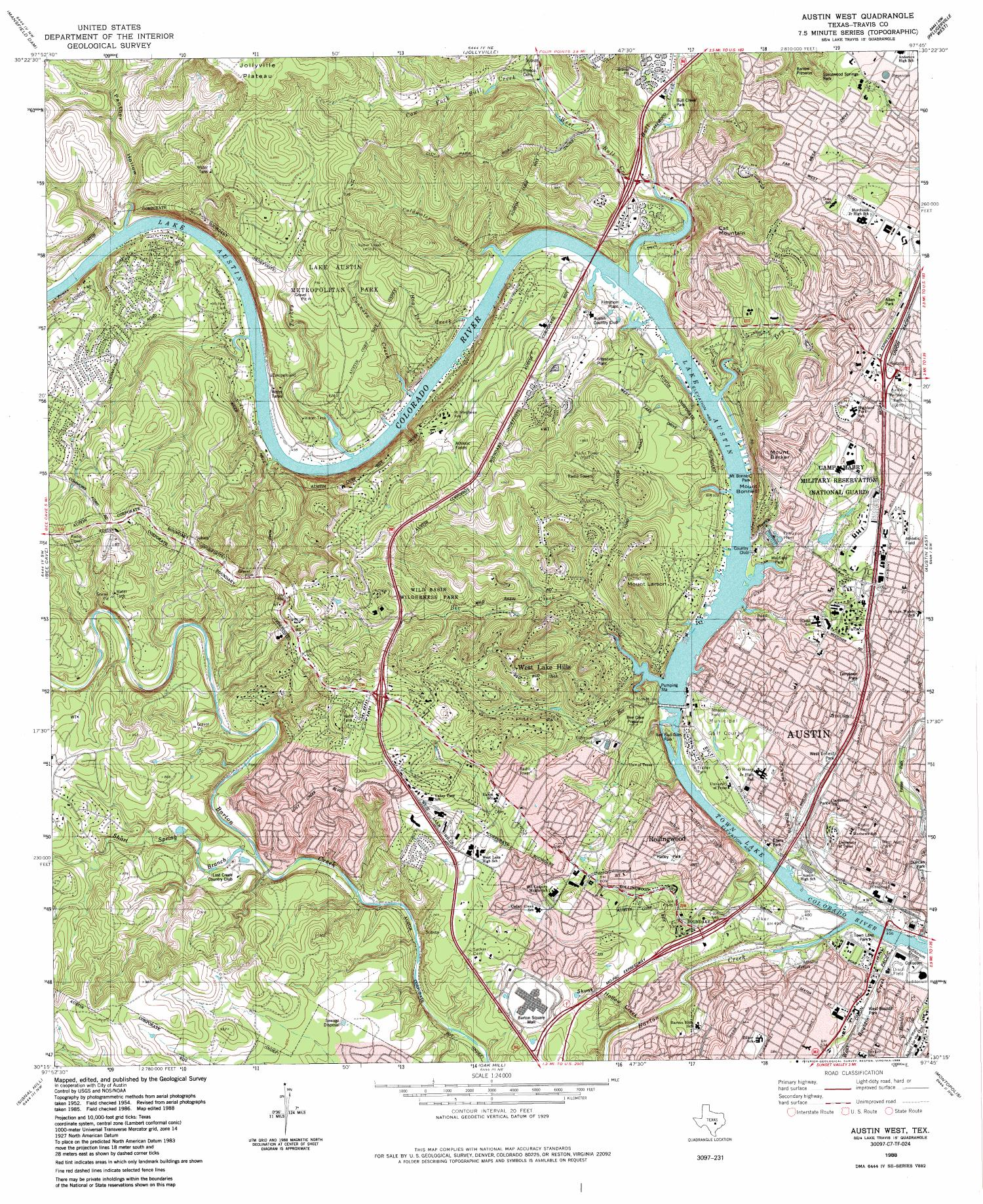 Austin West Quadrangle The Portal To Texas History - Usgs topo quad maps