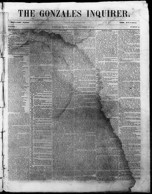 Primary view of The Gonzales Inquirer. (Gonzales, Tex.), Vol. 1, No. 29, Ed. 1 Saturday, December 17, 1853