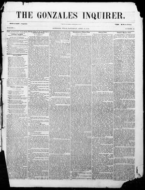 Primary view of The Gonzales Inquirer. (Gonzales, Tex.), Vol. 1, No. 48, Ed. 1 Saturday, April 29, 1854