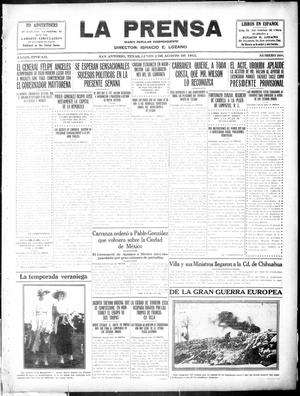 Primary view of object titled 'La Prensa (San Antonio, Tex.), Vol. 3, No. 266, Ed. 1 Monday, August 2, 1915'.