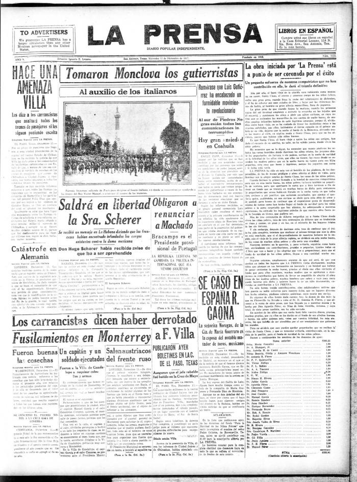 La Prensa (San Antonio, Tex ), Vol  5, No  1122, Ed  1 Wednesday
