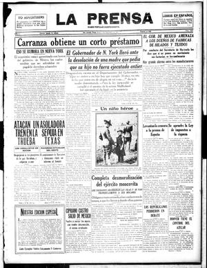 Primary view of object titled 'La Prensa (San Antonio, Tex.), Vol. 5, No. 1036, Ed. 1 Thursday, September 6, 1917'.