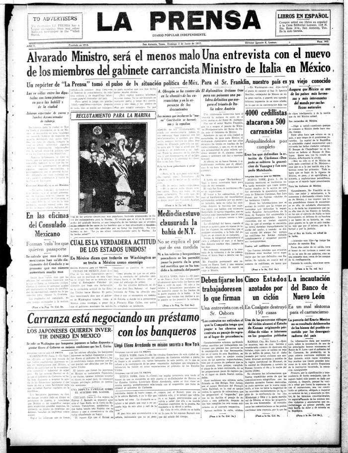 La Prensa (San Antonio, Tex ), Vol  5, No  942, Ed  1 Sunday, June 3
