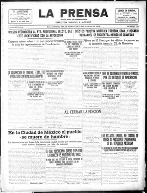 La Prensa (San Antonio, Tex.), Vol. 3, No. 289, Ed. 1 Wednesday, August 25, 1915, La Prensa