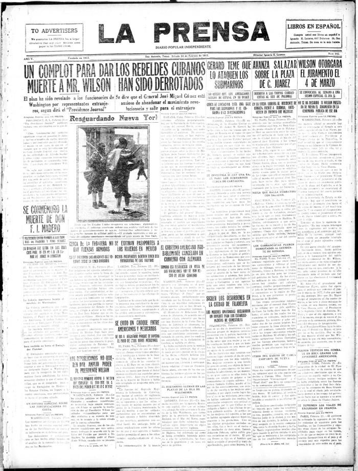 La Prensa (San Antonio, Tex ), Vol  5, No  842, Ed  1