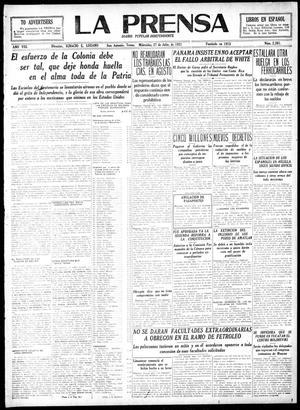 La Prensa (San Antonio, Tex.), Vol. 8, No. 2,301, Ed. 1 Wednesday, July 27, 1921, La Prensa