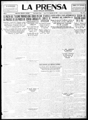 La Prensa (San Antonio, Tex.), Vol. 10, No. 215, Ed. 1 Monday, September 18, 1922, La Prensa