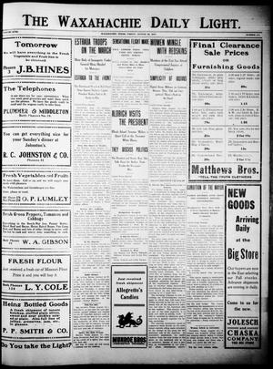 Primary view of The Waxahachie Daily Light. (Waxahachie, Tex.), Vol. 18, No. 111, Ed. 1 Friday, August 12, 1910