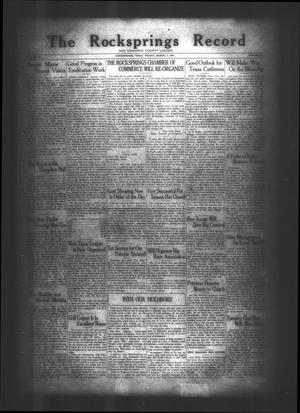 Primary view of object titled 'The Rocksprings Record and Edwards County Leader (Rocksprings, Tex.), Vol. 10, No. 12, Ed. 1 Friday, March 2, 1928'.