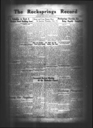 Primary view of object titled 'The Rocksprings Record and Edwards County Leader (Rocksprings, Tex.), Vol. 10, No. 9, Ed. 1 Friday, February 10, 1928'.