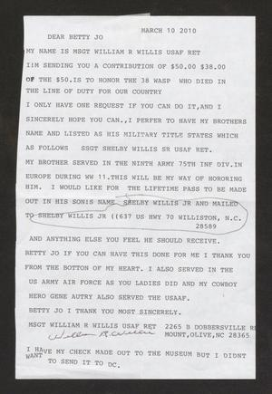 Primary view of object titled '[Letter from MSGT William R. Willis to Betty Jo Reed, March 10, 2010]'.