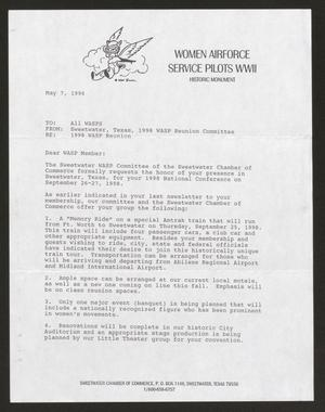 Primary view of object titled '[Letter from 1998 WASP Reunion Committee to All WASP, May 7, 1996]'.