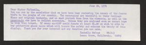 Primary view of object titled '[Letter from Isabelle McCrae, June 24, 1970]'.
