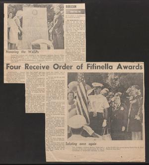 Primary view of object titled '[Clipping: Four Receive Order of Fifinella Awards]'.