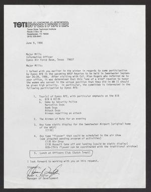 Primary view of object titled '[Letter from Homer K. Taylor  to Major Mills, June 9, 1986]'.