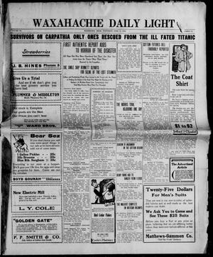 Primary view of object titled 'Waxahachie Daily Light (Waxahachie, Tex.), Vol. 20, No. 11, Ed. 1 Wednesday, April 17, 1912'.