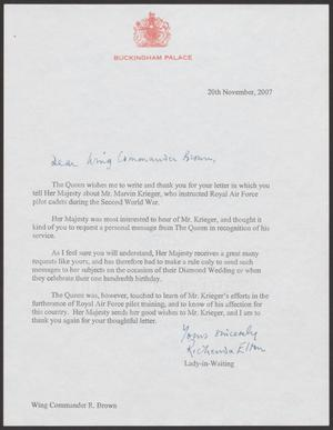 Primary view of object titled '[Letter from The Queen at Buckingham Palace to Wing Commander R. Brown, Nov. 20, 2007]'.
