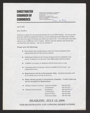 Primary view of object titled '[Letters From Sweetwater Chamber of Commerce to WASP Members, June Leckie, April 2000]'.