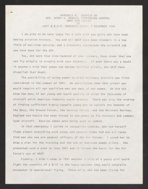 Primary view of object titled '[Address By Gen. Henry H. Arnold To Last W.A.S.P. Graduate Class]'.