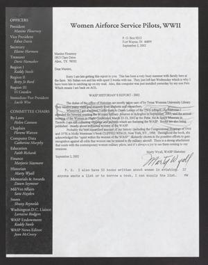 Primary view of object titled '[Letter from Marty Wyall to Maxine Flournoy, Sept. 2, 2002]'.