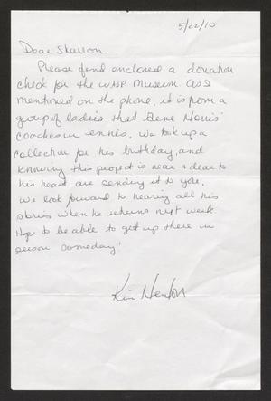 Primary view of object titled '[Letter from Kim to Sharron Davis, March 22, 2010]'.