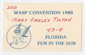 Primary view of object titled '[Name Tag From 1980 WASP Convention]'.