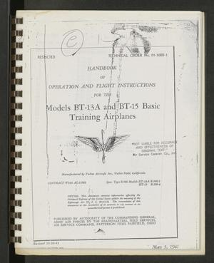 Primary view of object titled '[Handbook of Operation and Flight Instructions for the Models BT-13A and BT-15 Basic Training Airplanes]'.