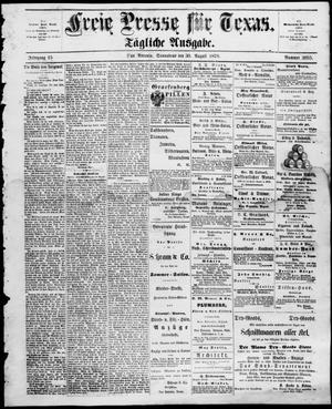 Primary view of Freie Presse für Texas. (San Antonio, Tex.), Vol. 15, No. 2055, Ed. 1 Saturday, August 30, 1879