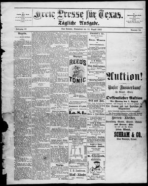 Primary view of Freie Presse für Texas. (San Antonio, Tex.), Vol. 18, No. 52, Ed. 1 Saturday, August 12, 1882