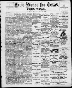 Primary view of Freie Presse für Texas. (San Antonio, Tex.), Vol. 15, No. 2088, Ed. 1 Wednesday, October 8, 1879