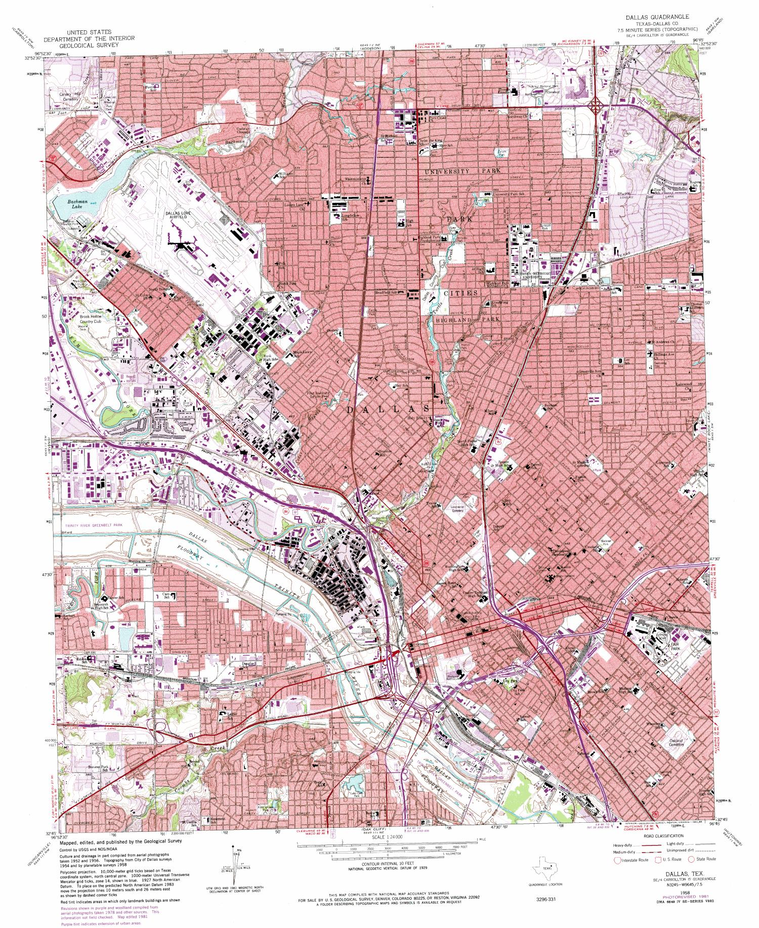 Dallas Quadrangle, Topographic map of a portion of Texas from the United States Geological Survey (USGS) project. The map includes towns, historic or notable sites, bodies of water, and other geologic features. Scale 1:24,000,