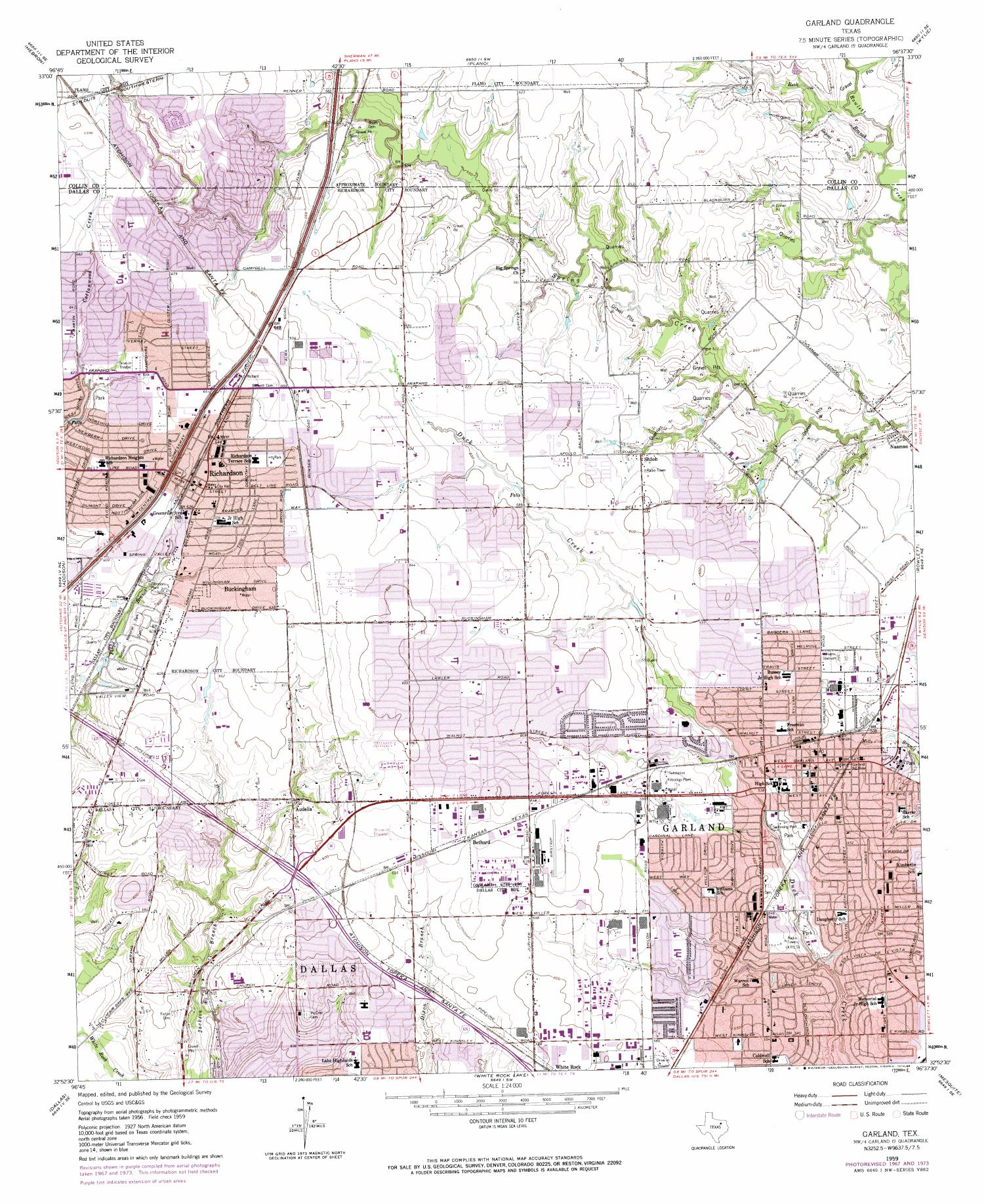 Garland Quadrangle, Topographic map of a portion of Texas from the United States Geological Survey (USGS) project. The map includes towns, historic or notable sites, bodies of water, and other geologic features. Scale 1:24,000,