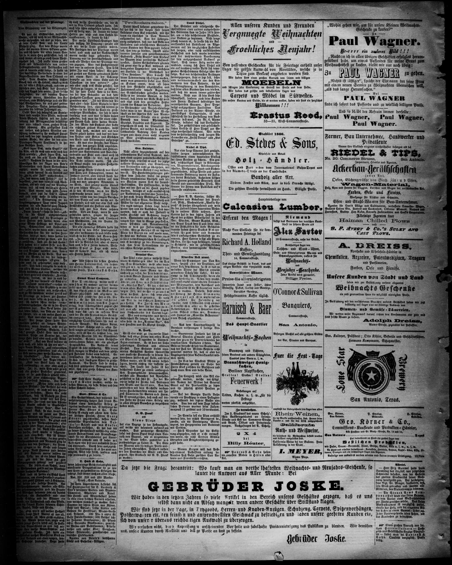 Freie Presse für Texas. (San Antonio, Tex.), Vol. 21, No. 1090, Ed. 1 Wednesday, December 16, 1885                                                                                                      [Sequence #]: 4 of 4