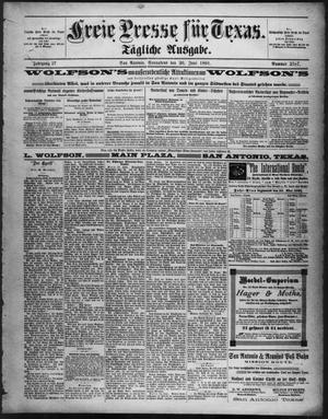 Primary view of Freie Presse für Texas. (San Antonio, Tex.), Vol. 27, No. 2787, Ed. 1 Saturday, June 20, 1891
