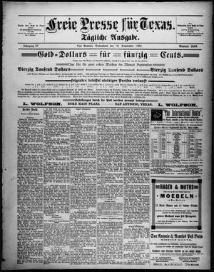 Primary view of Freie Presse für Texas. (San Antonio, Tex.), Vol. 27, No. 2864, Ed. 1 Saturday, September 19, 1891