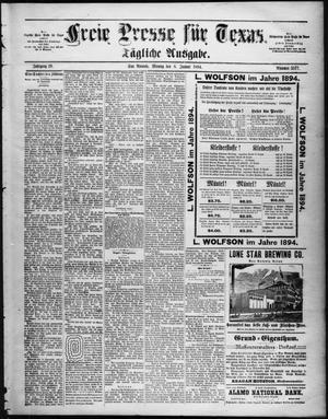 Primary view of Freie Presse für Texas. (San Antonio, Tex.), Vol. 29, No. 3577, Ed. 1 Monday, January 8, 1894