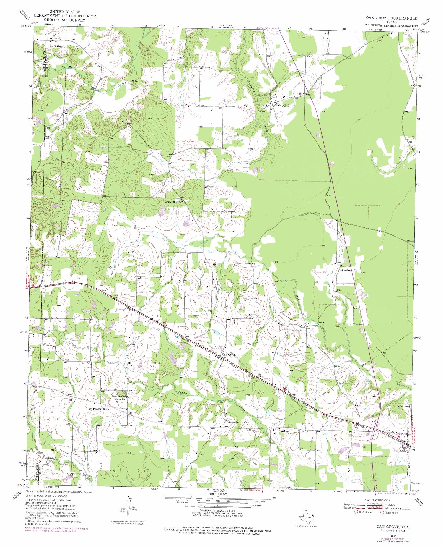 Oak Grove Quadrangle, Topographic map of a portion of Texas from the United States Geological Survey (USGS) project. The map includes towns, historic or notable sites, bodies of water, and other geologic features. Scale 1:24,000,