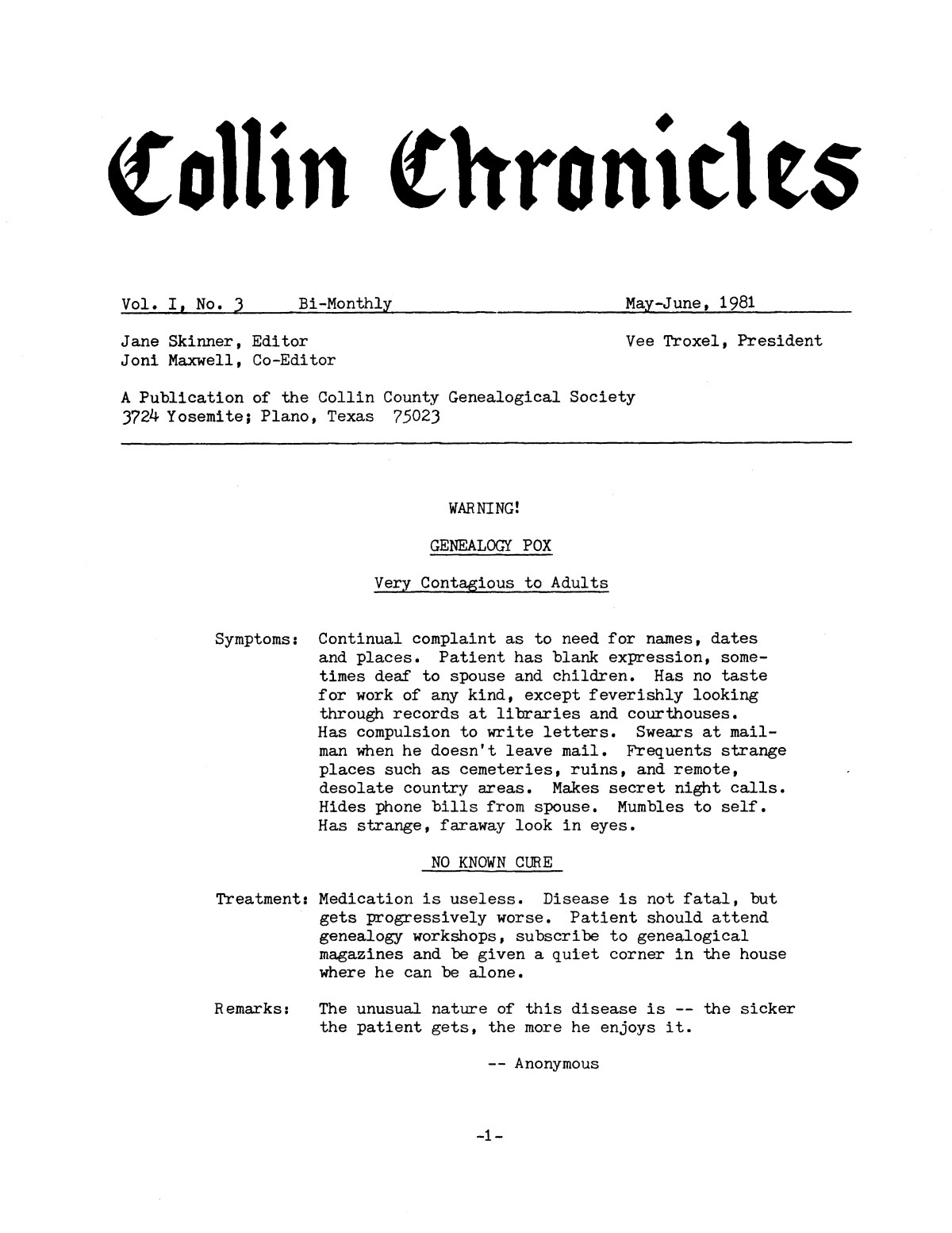 Collin Chronicles, Volume 1, Number 3, May-June, 1981                                                                                                      [Sequence #]: 1 of 8