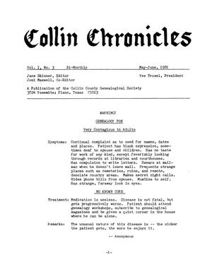 Primary view of object titled 'Collin Chronicles, Volume 1, Number 3, May-June, 1981'.