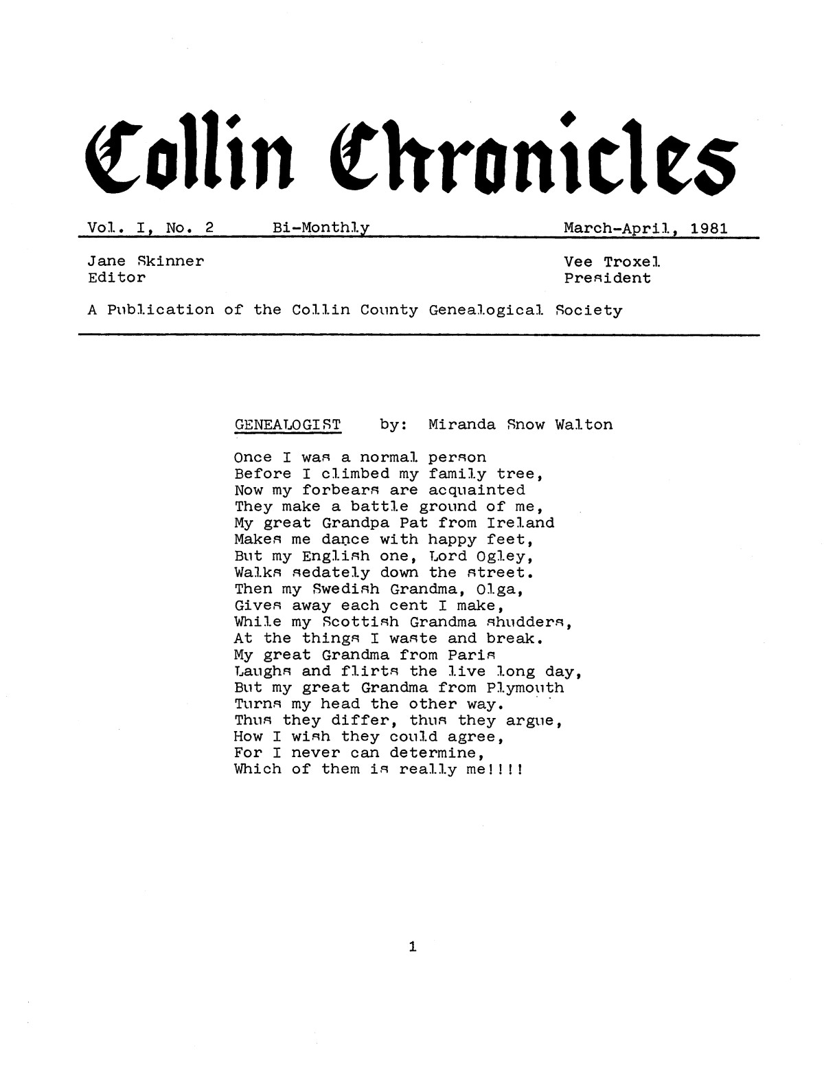 Collin Chronicles, Volume 1, Number 2, March-April, 1981                                                                                                      [Sequence #]: 1 of 8