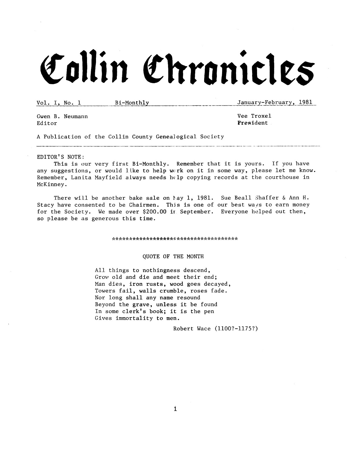 Collin Chronicles, Volume 1, Number 1, January-February, 1981                                                                                                      [Sequence #]: 1 of 8
