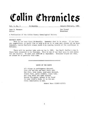 Primary view of object titled 'Collin Chronicles, Volume 1, Number 1, January-February, 1981'.