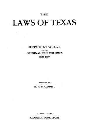 Primary view of object titled 'The Laws of Texas, 1913-1914 [Volume 16]'.