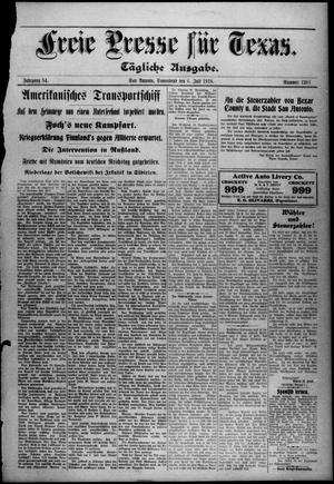 Primary view of Freie Presse für Texas. (San Antonio, Tex.), Vol. 54, No. 1201, Ed. 1 Saturday, July 6, 1918